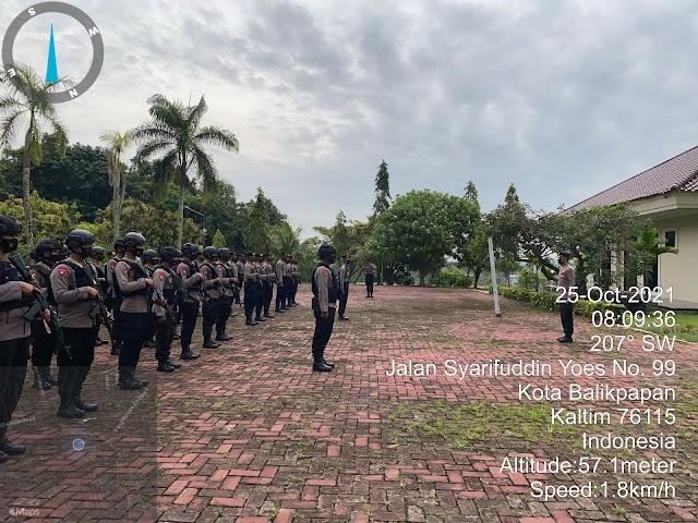 Brimob Kaltim Laksanakan Giat Apel Pergeseran Pasukan Pengamanan Pembangunan Kawasan IKN