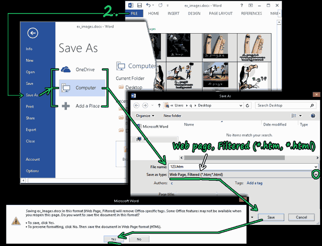 Change file extension to bring back original images in word