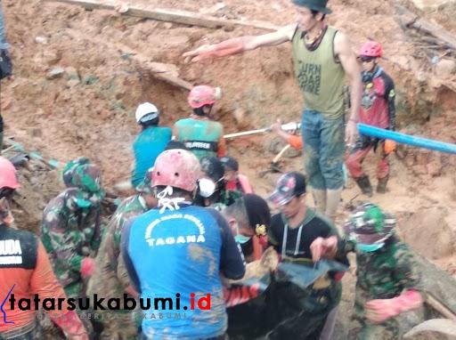 Penemuan jenazah hari ke-6 Korban Longsor Cisolok Sukabumi / Foto : Isep Panji (5/1/2019)