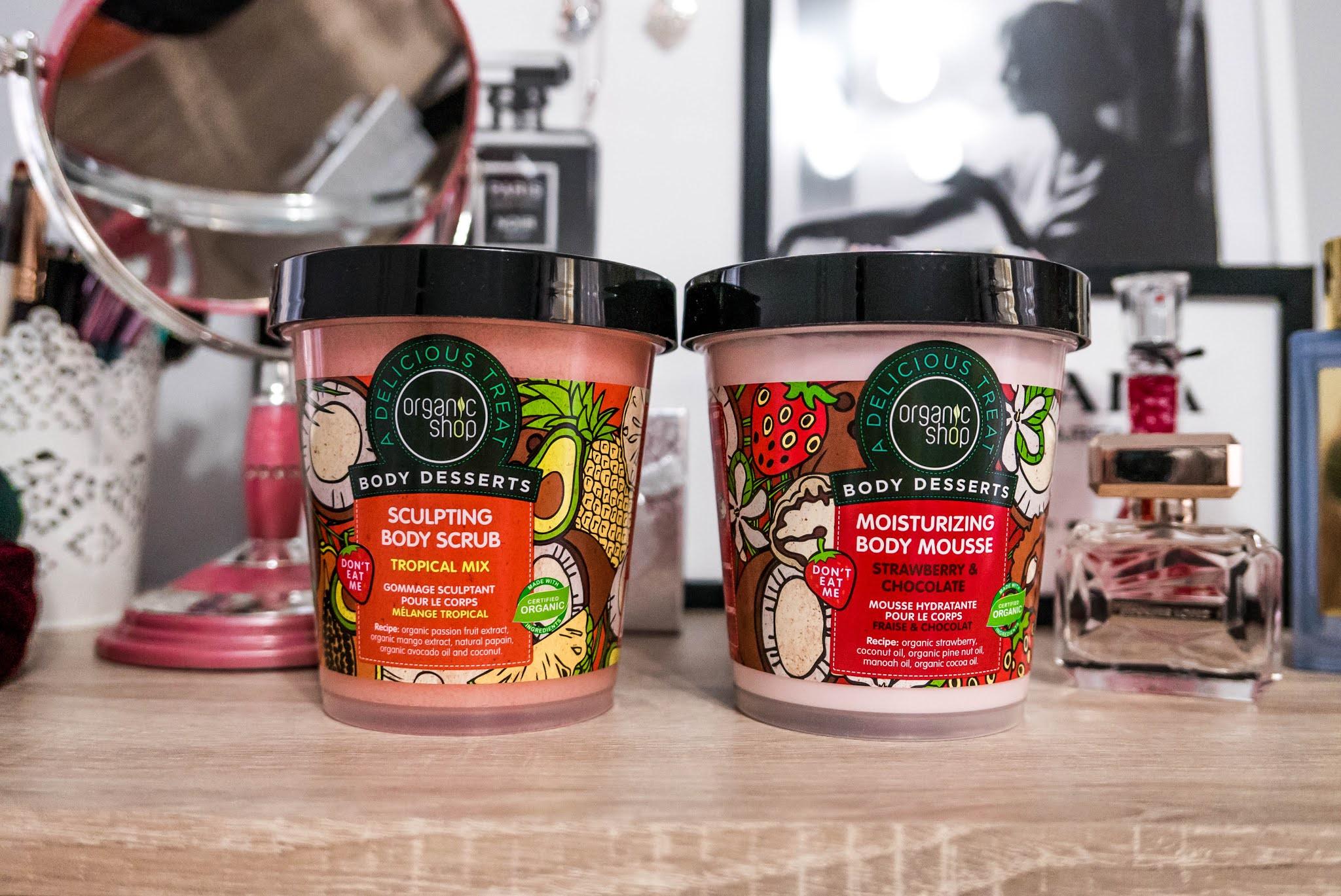 Zapach lata zamknięty w kosmetykach marki Organic Shop z linii Body Desserts | Peeling do ciała Tropikalny Mix oraz Mus do ciała Truskawka-Czekolada