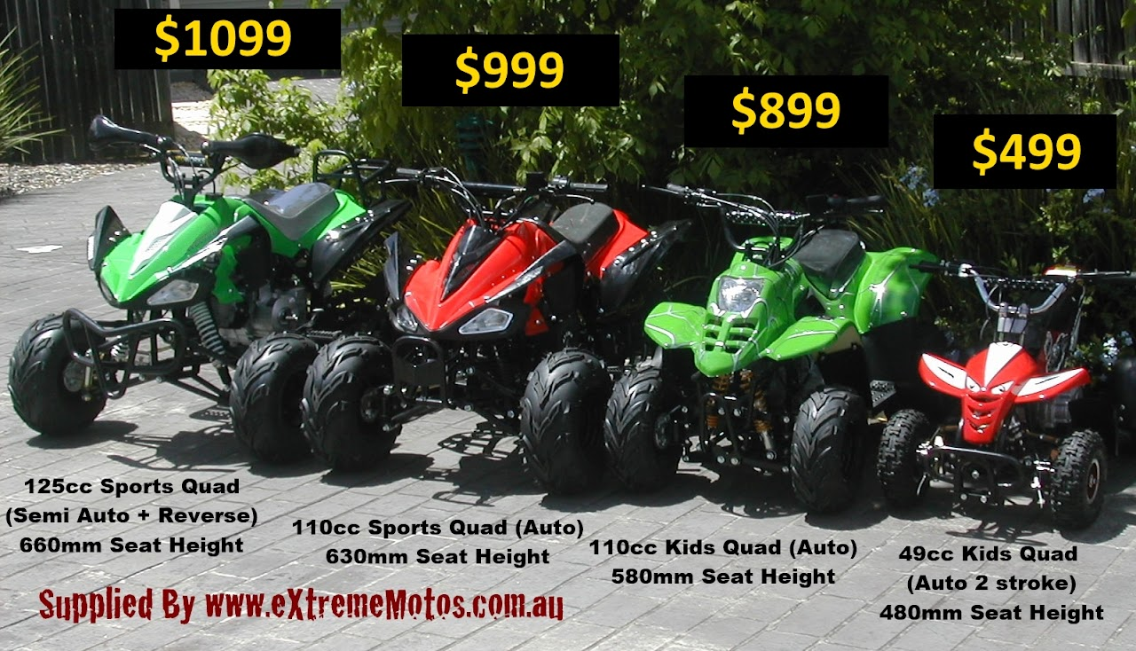 Size Cost Comparison Kids 125cc 110cc 49cc Sports Quad Bikes Atv
