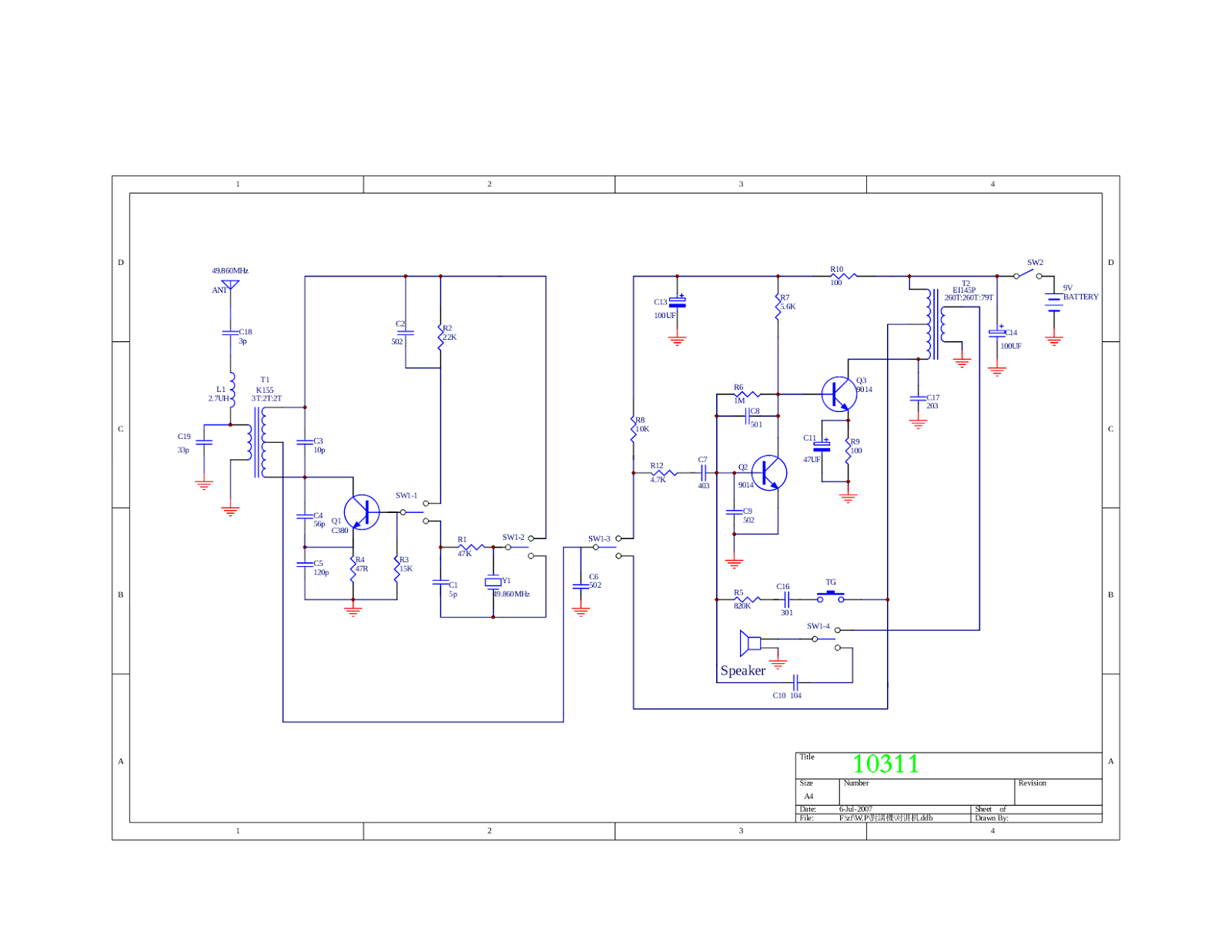 Simple walkie talkie circuit diagram easy to build simple this simple walkie talkie circuit is very easy to build for your home made walkie talkie project ccuart Choice Image