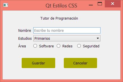 Uso de selectore en QSS