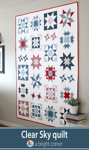 Clear Sky quilt pattern by Andy of A Bright Corner - a modern star sampler quilt pattern