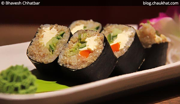 Close-up of Quinoa Maki Sushi at Shizusan (The Asian Bistro) in Phoenix Market City at Viman Nagar area of Pune