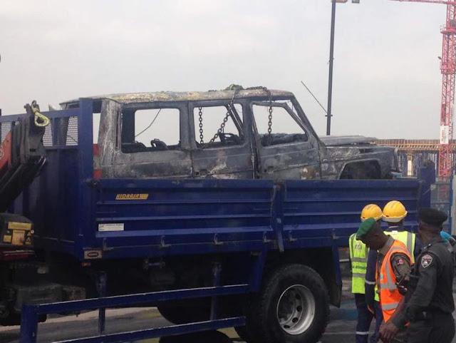Governor Fayose Survives Car Bomb After His Mercedes Benz Gwagon Burst Into Flames In Lagos (Photos)