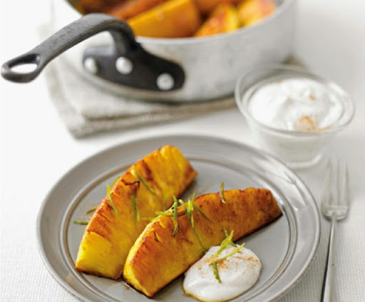 Spiced-glazed pineapple with cinnamon fromage frais