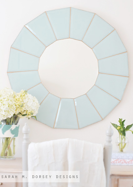 Gorgeous glass mirror made from the glass out of an 80s chandelier