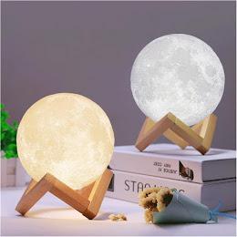 Moon Lamp 3D - lampa in forma de luna, lumina LED, stand lemn
