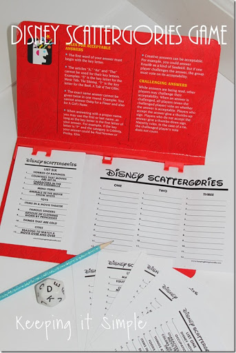 picture about Printable Scattergories titled Disney Get together Sport- Disney Scattergories Printable Holding