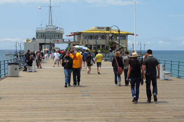 Visitors enjoying a leisurely stroll at Santa Monica Pier, California