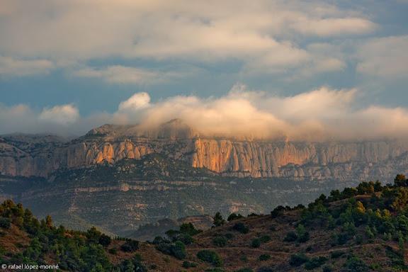 Turons de llicorella, al fons, Montsant, serra Major, Parc Natural. Vinyes DOQ PrioratVista des de la finca de l'Arbossar, Torroja (celler Terroir al Límit). Priorat, Tarragona