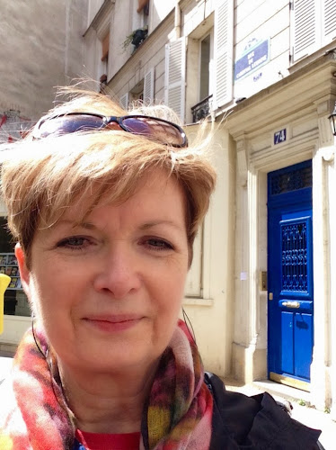 selfie out side Hemingway's apartment in Paris, 74 rue Cardinale lemoine