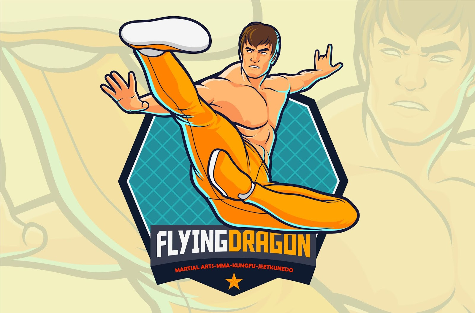 Flying Kick Fighter Action Martial Arts Free Download Vector CDR, AI, EPS and PNG Formats