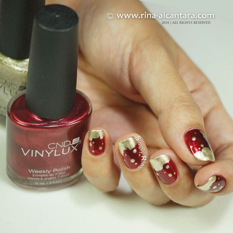 Gold Frosting Nail Art on CND Polishes