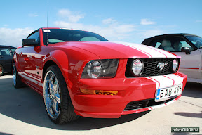 Ford Mustang Red with white stripes