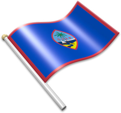 The Guamanian flag on a flagpole clipart image