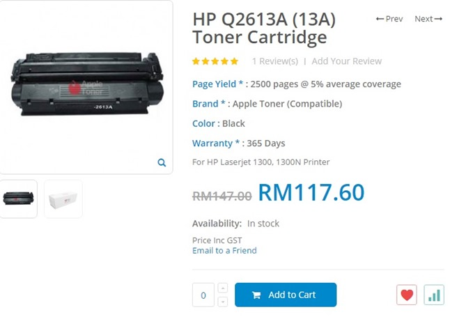 Jom Beli Online Toner Cartridge di Apple Toner
