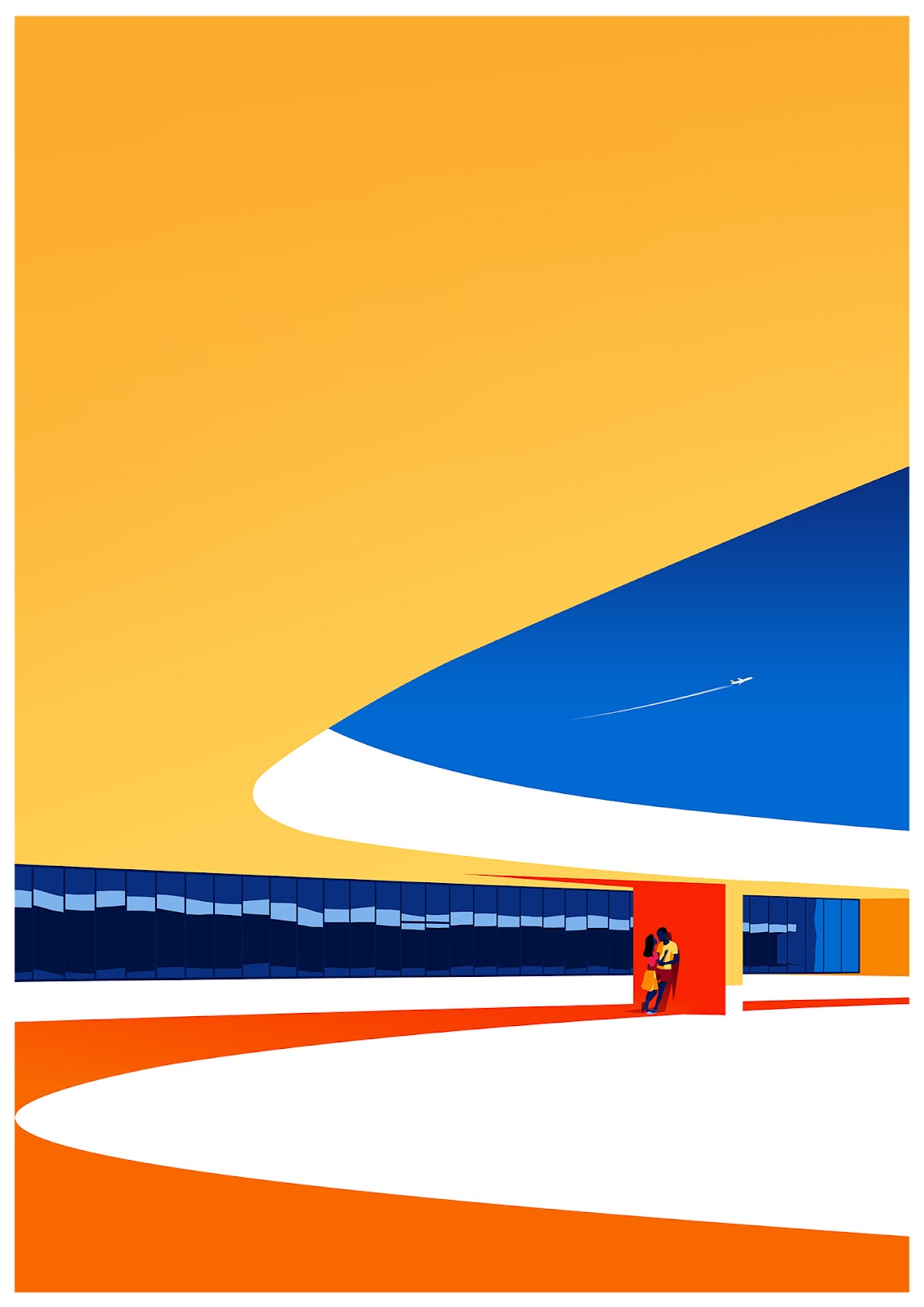 Illustration Celebrating Modernist Architecture of Oscar Niemeyer