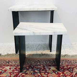 Modern Marble Top Nesting Table Pair