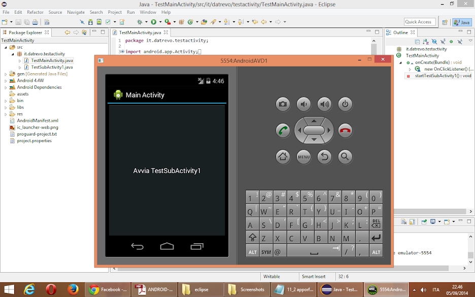 Test Android sottoattività