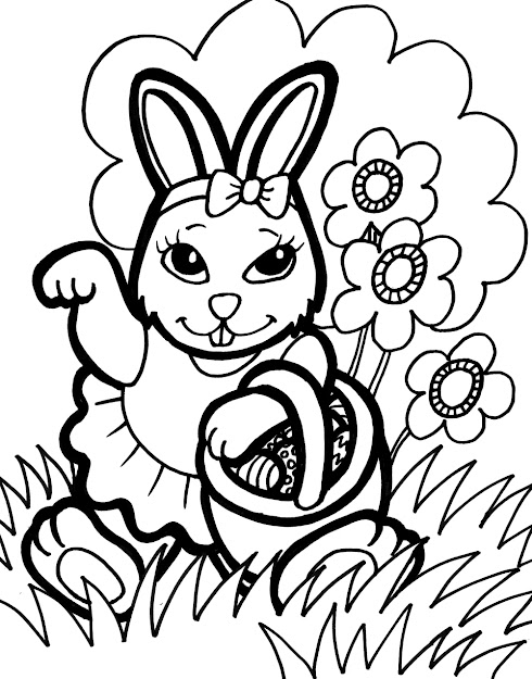 Easter Bunny Coloring Pages Hello Kitty Easter Coloring Pages