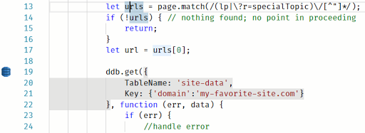 DynamoDB operation highlighted, with indicator icon in front