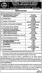 NIMHANS Non Teaching Posts 2016 www.indgovtjobs.in
