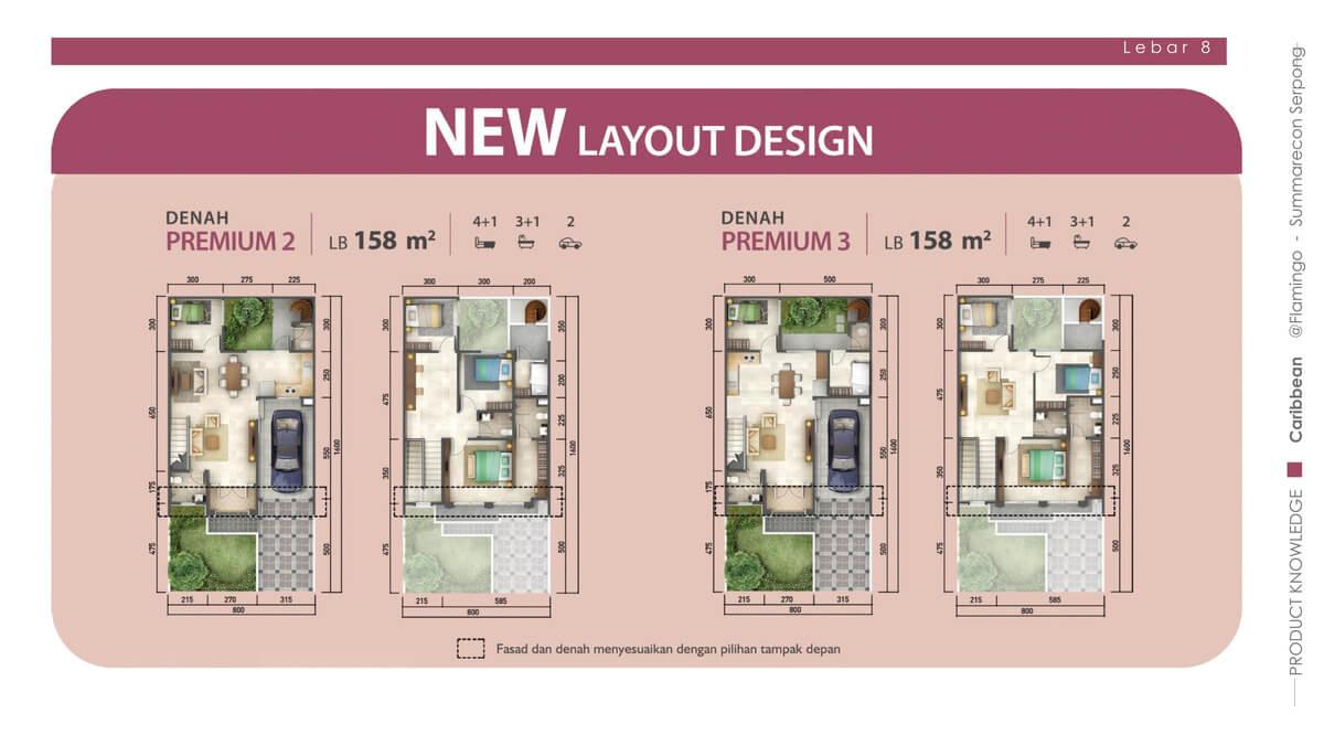 Rumah Caribbean Tipe 8x16 Denah Premium 2 & 3