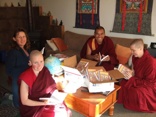Chandrakirti Tibetan Buddhist Meditation Centre receives new Lama Chopa Jorcho books, July 2011, Richmond, New Zealand