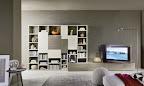 soggiorni a parete, libreria, porta tv rovere cenere e bianco