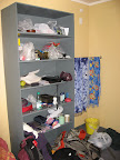 One of the highlights of this place was the in-room shelving, which we quickly filled.