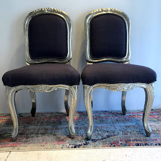 Metal Wrapped Louis XV Style Chair Pair