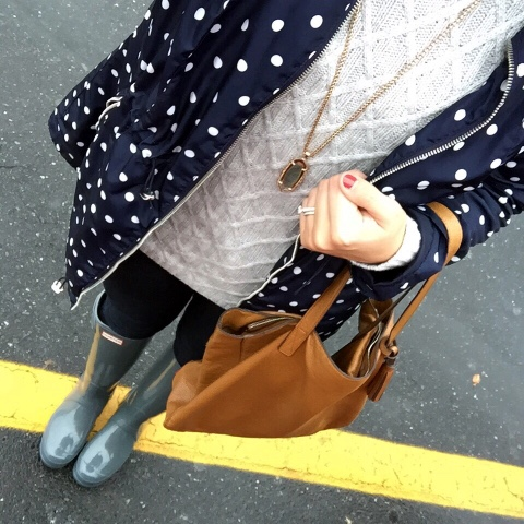 rainy day style, hunter boots, mom style