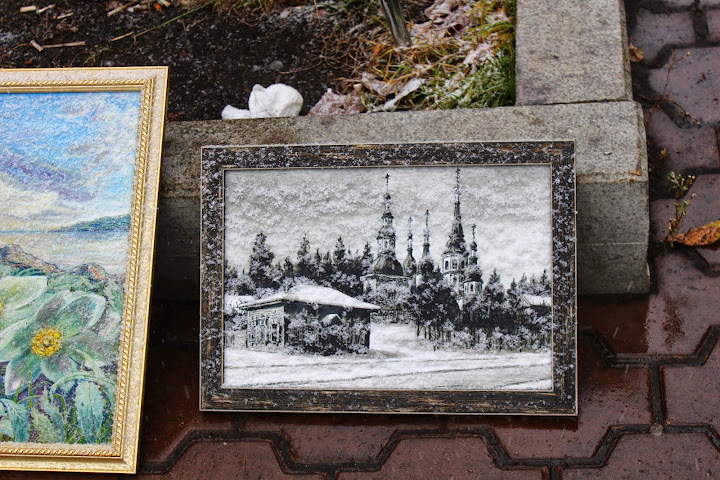 Painting of snow, covered by snow. Irkutsk russia