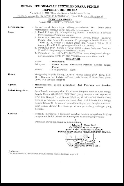 Sengketa Pilwako Masih Berlanjut, DKPP Panggil Ketua AMPK Sungai Penuh