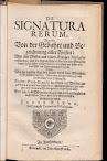 De Signatura Rerum, Das Ist Von Der Gebuhrt und Bezeichnung Aller Wesen (1682,in German)