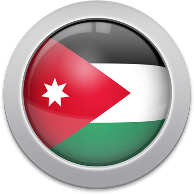 Jordanian flag icon with a silver frame