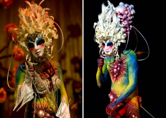 Bodypaint aliens geishas and a frog at the New Zealand Body Art