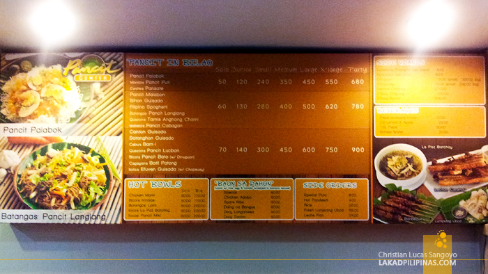 Menu Counter at Pasig's Pancit Center