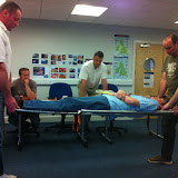 Casualty Care for Lifeboat Crew course – April 2011: crew using a scoop to transfer a casualty to a stretcher