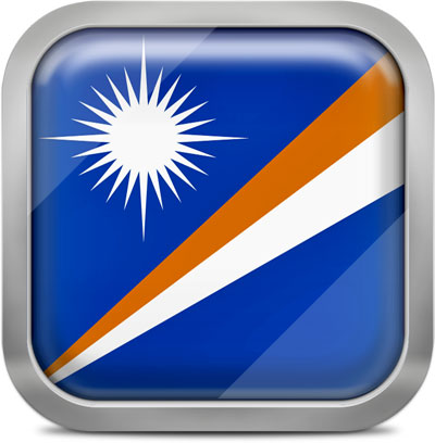 Marshall Islands square flag with metallic frame