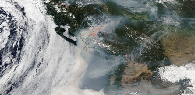 Satellite of smoke over Washington state from wildfires in British Columbia and Weastern Washington, 21 August 2018. Photo: NASA Worldview