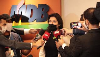Simone Tebet abalada deixa indefinido seu futuro no MDB
