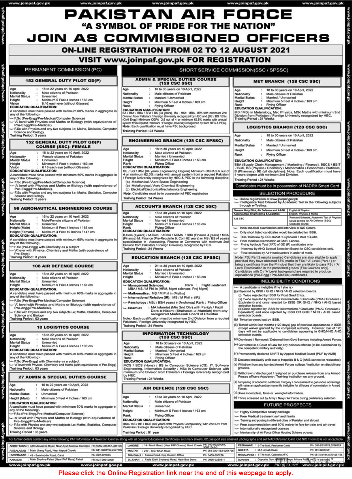 Join PAF as Officer 2021 - GD Pilot, Education, Engineering and Others Officers