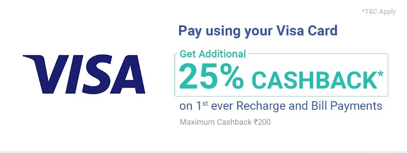 PhonePe - Get 25% Cashback upto Rs.200 on Recharge with Visa Debit or Credit Card