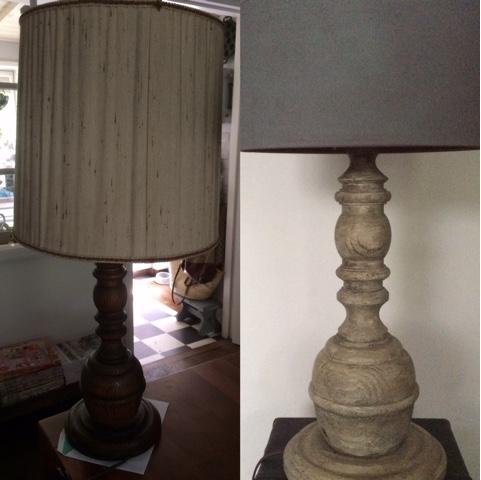 Oude lamp bwerkt met Vernis-Was Notelaar