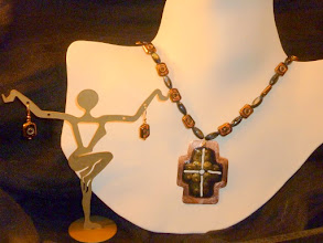 Photo: <BEREHYNYA> {Great Goddess Protectress} unique one-of-a-kind statement jewellery by Luba Bilash ART & ADORNMENT  THE LIGHT – СВІТЛО - copper enamel pendant, jet shell, glass, rose gold vermeil SOLD/ПРОДАНИЙ