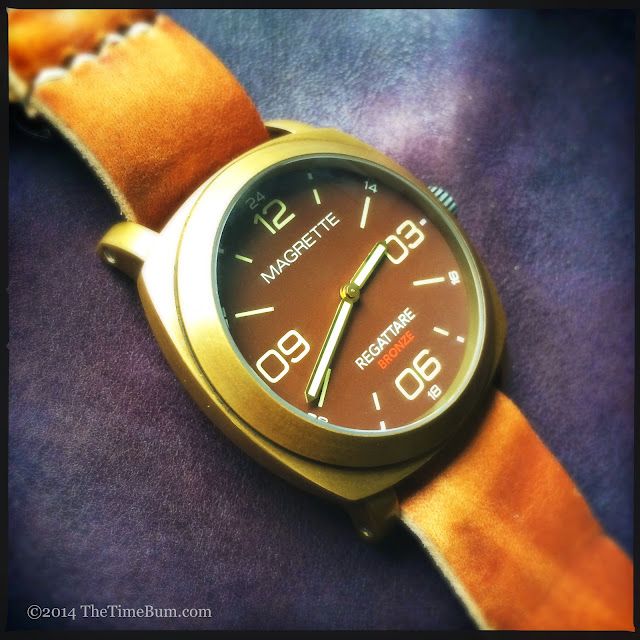 Magrette Regattare Bronze on The Wrist Fund Leather Bronze Strap