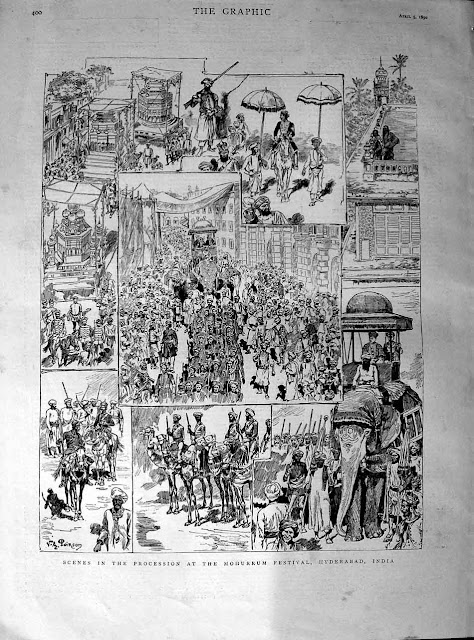 """Scenes in the procession at the Mohurrum festival, Hyderabad,"" from The Graphic, 1890"